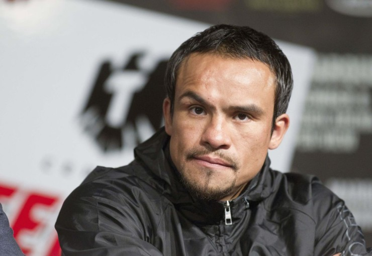 Mexican boxer Juan Manuel Marquez attends a news conference at the MGM Grand in Las Vegas