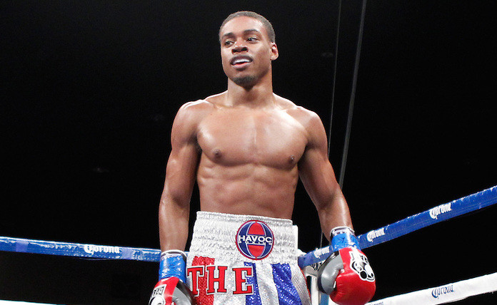 November 9, 2012 - Indio, CA; Errol Spence Jr and Jonathan Garcia trade punches during their bout on Showtime on November 9, 2012 at Fantasy Springs Resort & Casino in Indio, CA.
